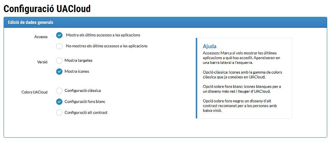 Opcions de configuració de la pantalla d'inici d'UACloud