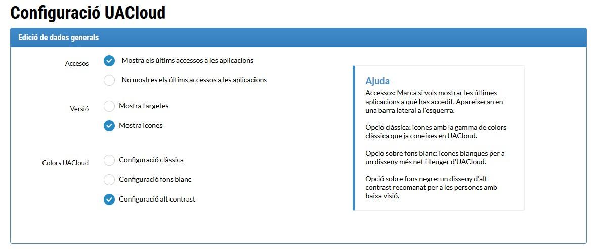 Opciones de configuración de la pantalla de inicio de UACloud