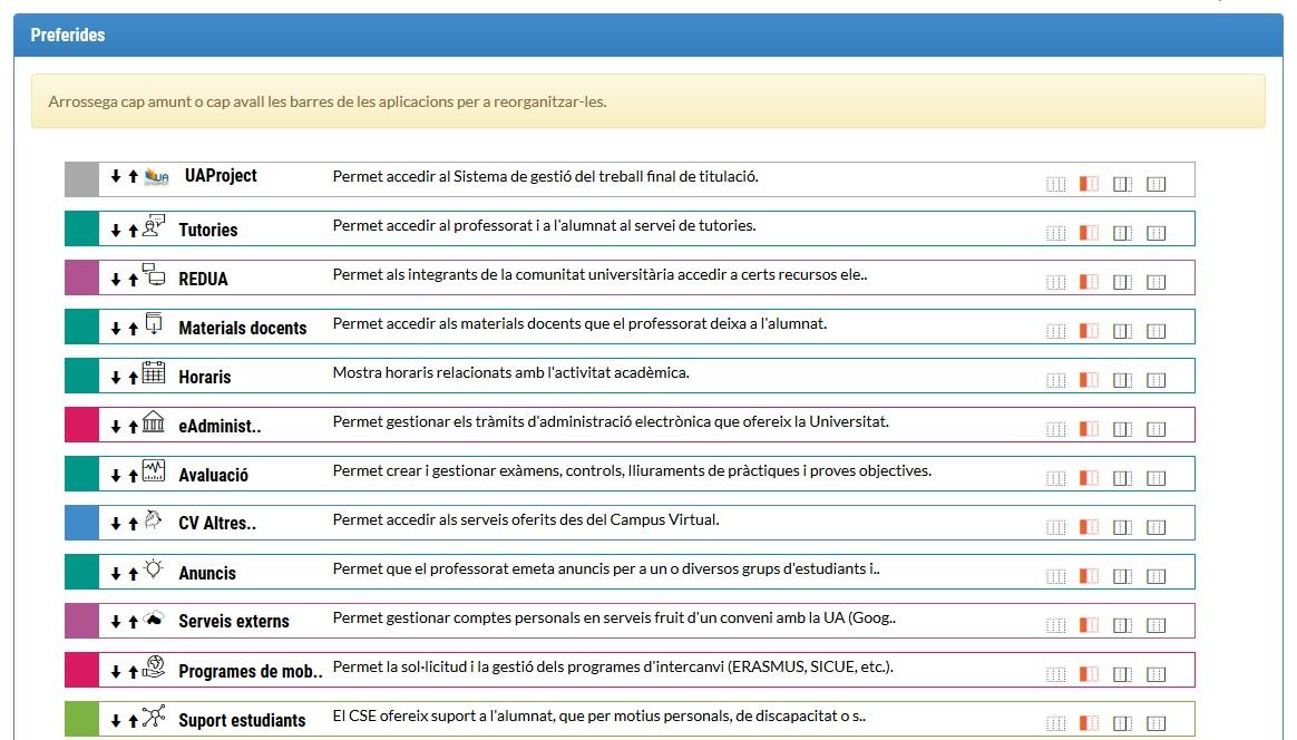 Reorganización de las aplicaciones favoritas de UACloud