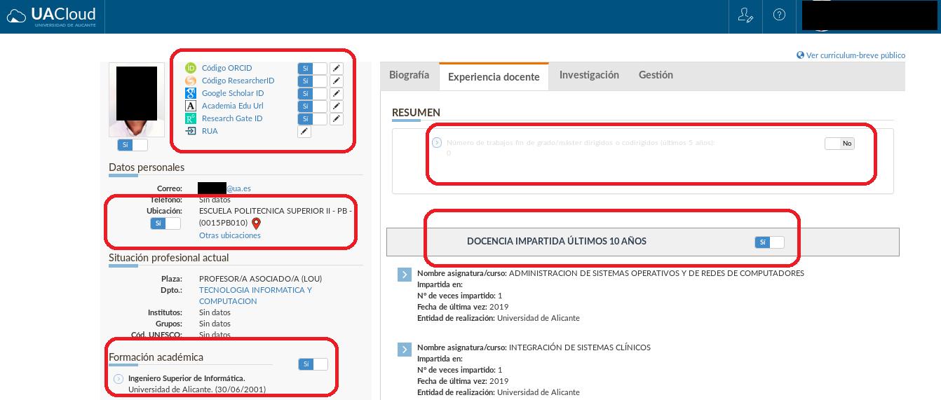 Configuración de la información en el breve currículo