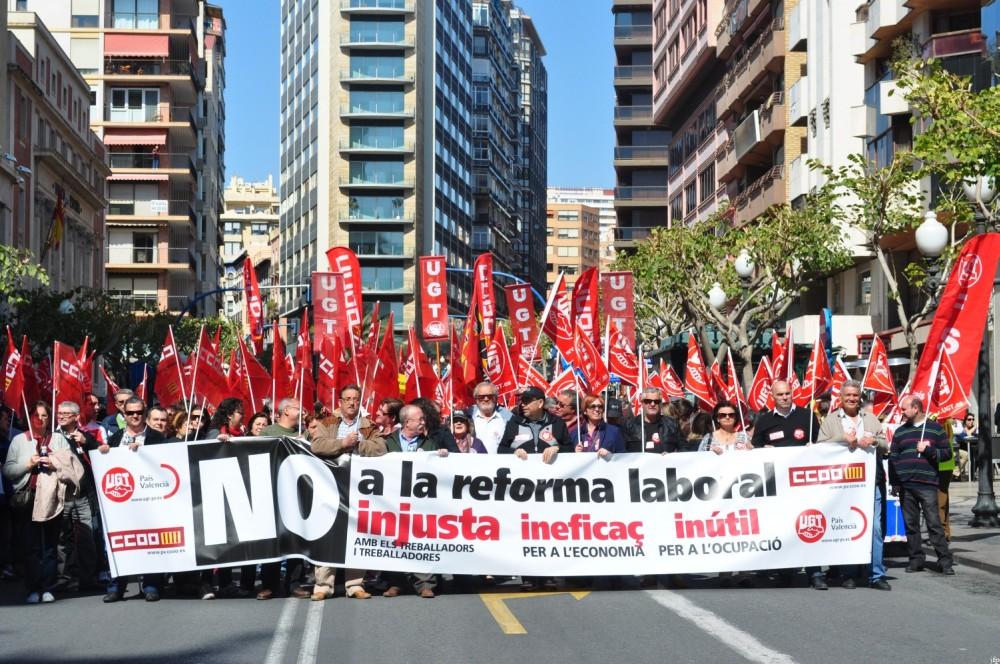 Manifestación, No a la reforma laboral - Alicante 11 de marzo de 2012