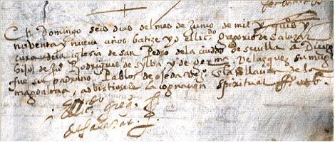 Partida de bautismo de Diego Rodriguez de Silva y Velazquez