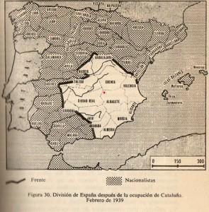 Fig 1: Mapa de la Guerra Civil en 1939. Villarrobledo aparece representado en el punto rojo.